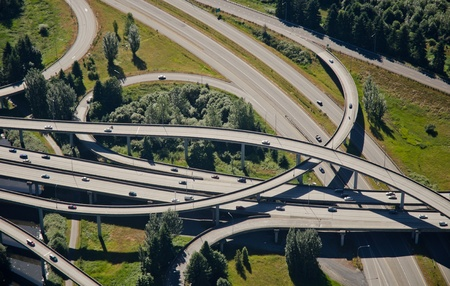 Aerial perspective of criss-crossing highways