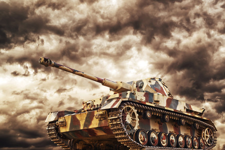Photo pour German Tank in action with dark storm clouds in background, Concept of war and conflict. - image libre de droit