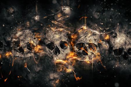 Photo pour Skulls And Bones as Conceptual Spooky Horror Halloween image. - image libre de droit