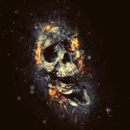 Photo pour Skull in Flames as Conceptual Spooky Horror Halloween image. - image libre de droit