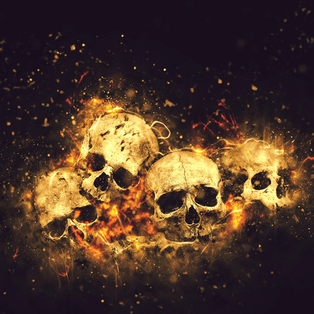 Photo for Skulls And Bones as Conceptual Spooky Horror Halloween image. - Royalty Free Image