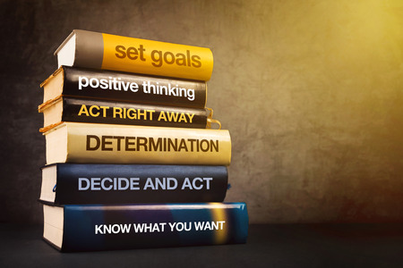 Photo pour Six Steps to Business Success Literature, Mastering Business Management Concept with Stack of Published Books. - image libre de droit