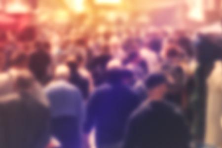 Photo pour Blurred Crowd of People On Street - image libre de droit