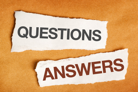 Photo for Questions and answers on scrap paper, presentation slide background - Royalty Free Image