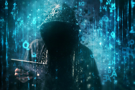 Photo pour Computer hacker with hoodie in cyberspace surrounded by matrix code, online internet security, identity protection and privacy - image libre de droit