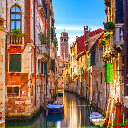 Foto de Venice cityscape, narrow water canal, campanile church on background and traditional buildings  Italy, Europe  - Imagen libre de derechos