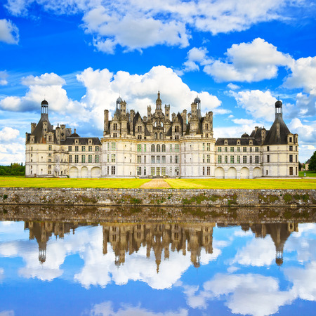 Photo for Chateau de Chambord, royal medieval french castle and reflection  Loire Valley, France, Europe  Unesco heritage site  - Royalty Free Image