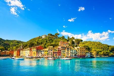 Foto de Portofino luxury landmark panorama  Village and yacht in little bay harbor  Liguria, Italy - Imagen libre de derechos