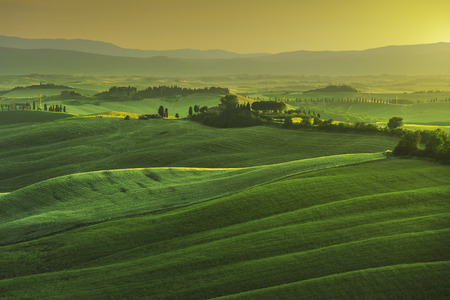 Photo pour Tuscany spring, rolling hills on misty sunset. Rural landscape. Green fields and farmlands. Italy, Europe - image libre de droit