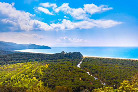 Photo pour Panoramic view of Maremma Regional Park also known as Uccellina Park. Tower, forest and sea coast. Tuscany, Italy Europe. - image libre de droit