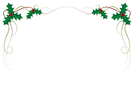 Ilustración de Christmas ivy border on white background - Imagen libre de derechos
