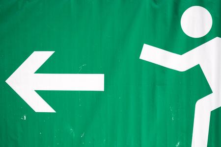 Foto de Big Emergency Exit Sign on a tarpaulin - Imagen libre de derechos