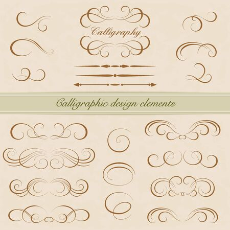 Illustration pour Vector set of calligraphic design elements. Page decoration - image libre de droit