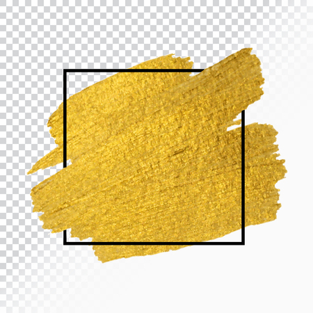 Ilustración de Vector gold paint brush stroke with border frame - Imagen libre de derechos