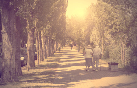 Photo pour Vintage photo of old couple walking in the park a sunny day - image libre de droit