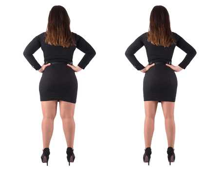 Woman's body before and after weightloss on white background. Health care and diet concept.