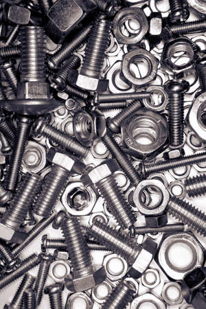 Closeup of metal nuts and bolts