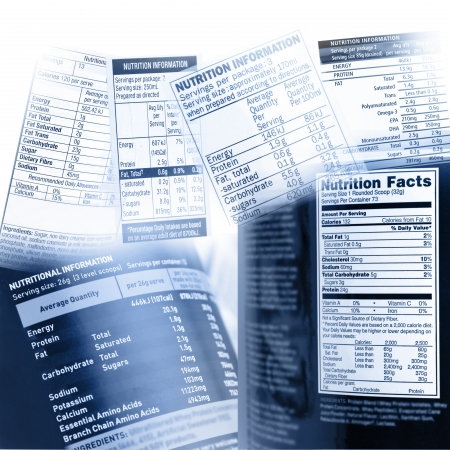 Nutrition information on assorted labels