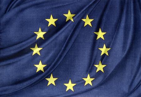 Photo pour Closeup of silky Europa, European Union flag - image libre de droit
