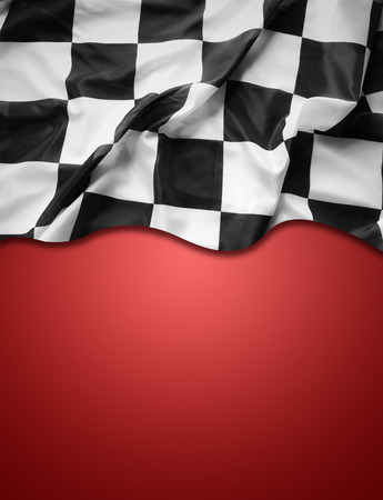 Photo for Checkered black and white flag on red background. Copy space - Royalty Free Image