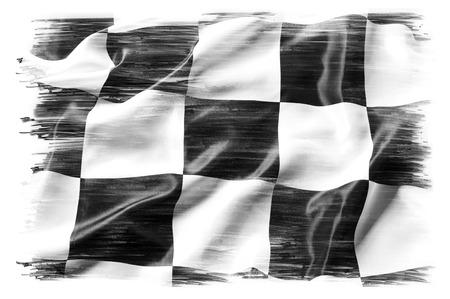 Photo pour Checkered flag on plain  - image libre de droit