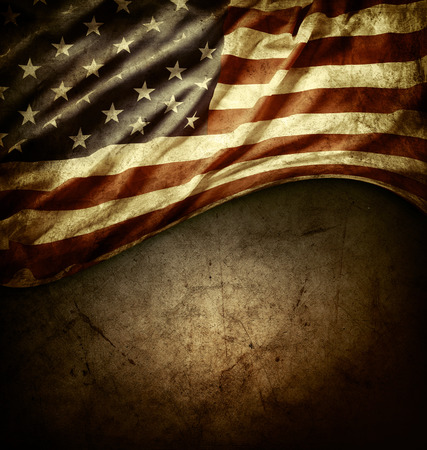 Foto de Closeup of American flag on grunge background - Imagen libre de derechos