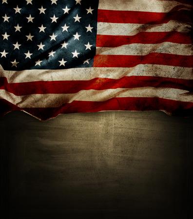 Foto de Closeup of American flag on grunge background - Imagen libre de derechos