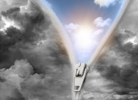 Photo pour Zip opening to brighter future - image libre de droit