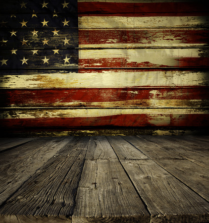 Photo pour Wooden floor and American flag on wall - image libre de droit
