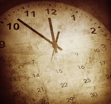 Photo for Grunge clock face and calendar - Royalty Free Image
