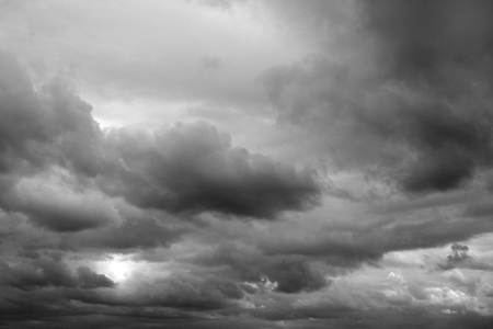 Photo for Dark ominous grey storm clouds. Dramatic sky - Royalty Free Image