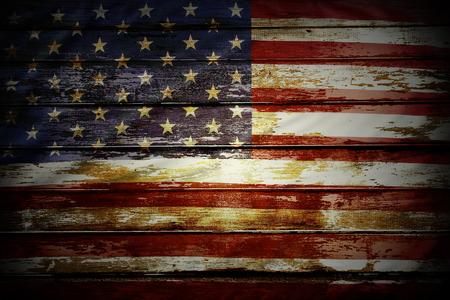 Foto de Closeup of American flag on boards - Imagen libre de derechos