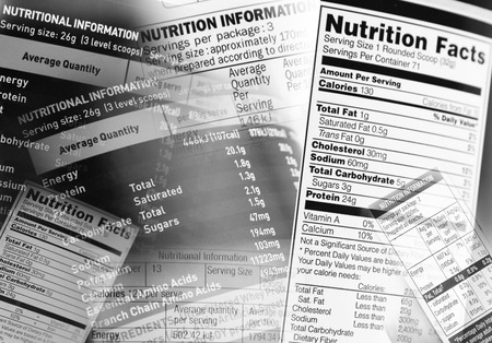 Photo pour Nutrition information facts on assorted food labels - image libre de droit