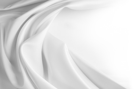 Photo pour Closeup of rippled white silk fabric - image libre de droit