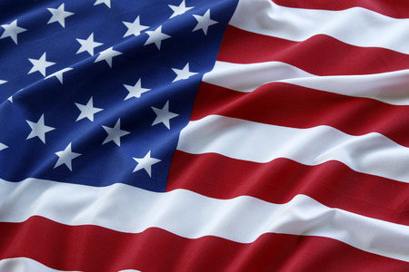 Photo pour Closeup of ruffled American flag - image libre de droit