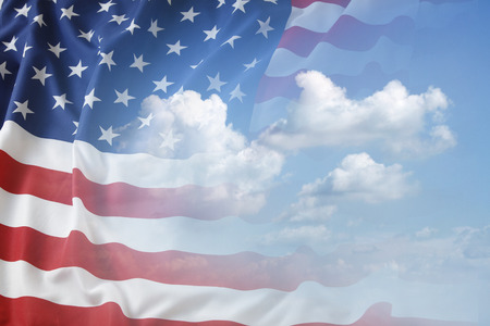 Foto de American flag in blue sky - Imagen libre de derechos
