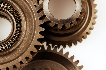 Photo for Metal cog gears joining together  - Royalty Free Image