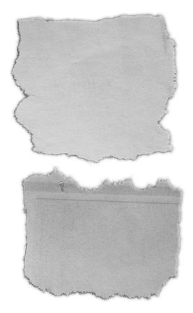 Foto de Two pieces of torn paper on plain background - Imagen libre de derechos