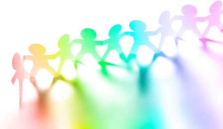 Photo for Colorful paper chain people holding hands - Royalty Free Image