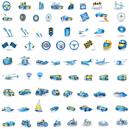 Huge set of light blue transport icons.
