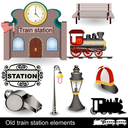 Different elements (icons) of an old train station.