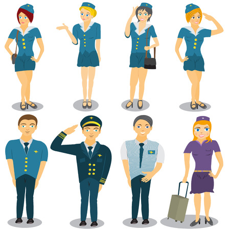 Cartoon vector illustration of  seven different stewardesses and a flying captain.