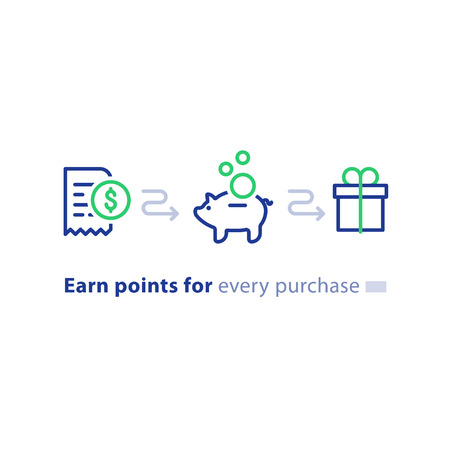 Illustration for Earn points for purchase concept, loyalty program, cash back, marketing and promotion, reward gift, get bonus, vector line icons - Royalty Free Image