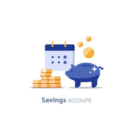 Illustration pour Future income, financial calendar, piggy bank annual dividends, return on investment, home budget planning, monthly payment day, pension fund savings, superannuation illustration, vector flat icon - image libre de droit