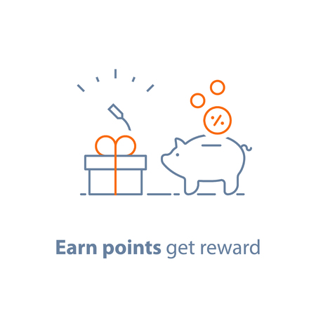 Illustration pour Earn points and get reward, loyalty program, marketing concept, piggy bank with coins and small gift box, charity donation, vector line icon, thin stroke illustration - image libre de droit