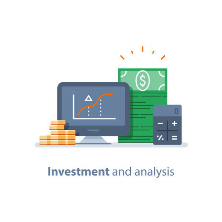 Illustration pour Investment strategy, financial analysis, hedge fund, venture business, mutual fund, trust management, interest rate, capital growth, data review on desktop, stock market and exchange, accountancy icon - image libre de droit