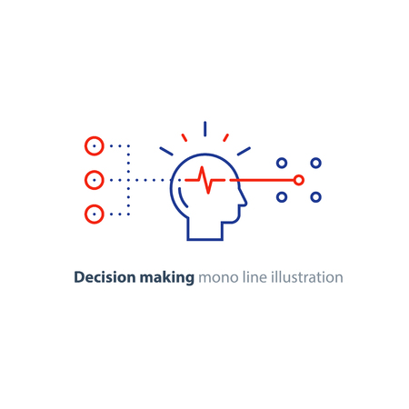 Illustrazione per Decision making architects, choice tree, marketing concept, psychology and neuroscience, mindset, vector mono line icon - Immagini Royalty Free