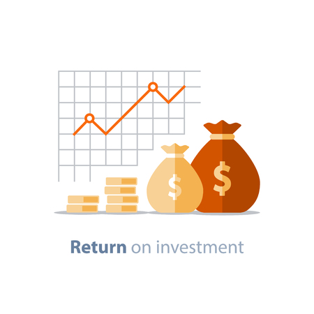 Illustration pour Finance productivity graph, return on investment chart, budget planning, expenses concept, accounting report, income growth, statistic dashboard, vector flat icon. - image libre de droit