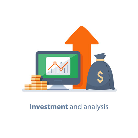 Ilustración de Investment strategy, financial analysis, hedge fund, venture business, mutual fund, trust management, interest rate, capital growth, data review on desktop, stock market and exchange, accountancy icon - Imagen libre de derechos