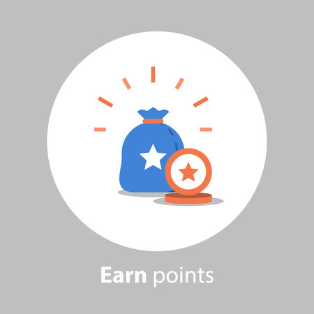 Illustration for Loyalty program, earn points, reward concept, collect points, vector icon, flat illustration - Royalty Free Image
